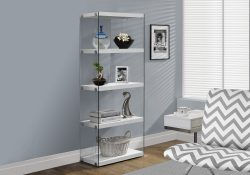 White and Clear Tempered Book Case