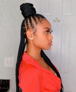 Half up, half down stitch braids