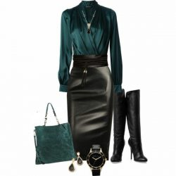 Green with black leather