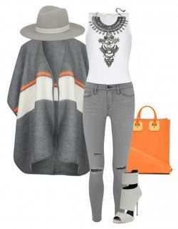 Grey jeans and orange