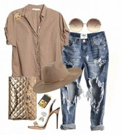 Rose gold, denim and taupe