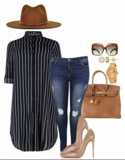 Navy stripes, tan and jeans