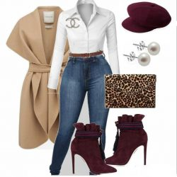 Burgundy booties w/ cheetah clutch
