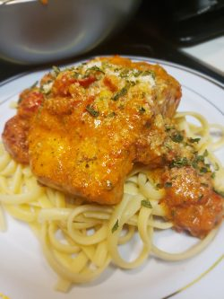 Tuscan Salmon and Linguini