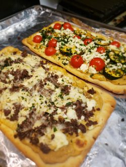 Lamb/Tzatziki and Zucchini and Tomato Flat Breads