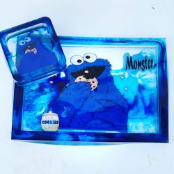 Rolling tray and ashtray Cookie Monster theme