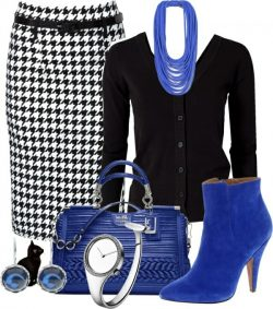 Blue, black and white