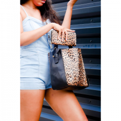 Leopard bucket bags with matching wallet