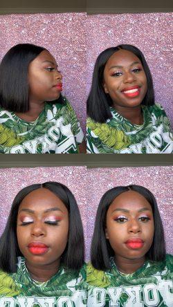 Makeup, red lipstick
