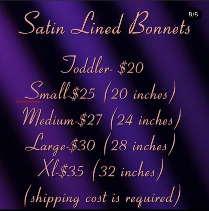 Handmade Adjustable Satin Lined Bonnets