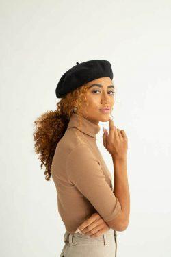 super cute satin-lined black beret by Grace Eleyae!!