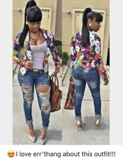 Ripped jeans Camisole Top Floral Jacket