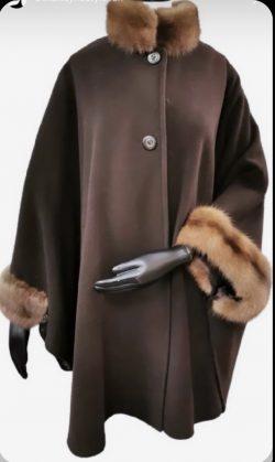 Fur trimmed evening gown coat