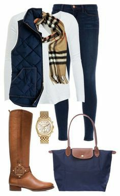 Burberry scarf and riding boots