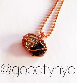 Copper Wire Wrapped Pyrite and Black Tourmaline by @goodflynyc