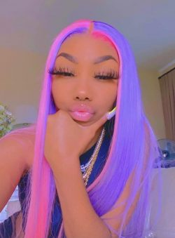 Purple and Pink Split Lacefront Hair Color