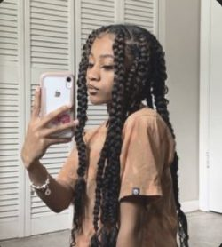 Distressed Jumbo Braids with Curls