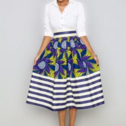 African print skirt with stripes