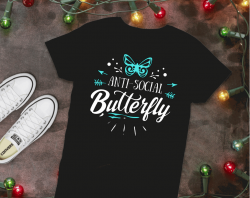 Shop or Vend with Got2bcre8tv Marketplace: Anti-Social Butterfly t-shirt