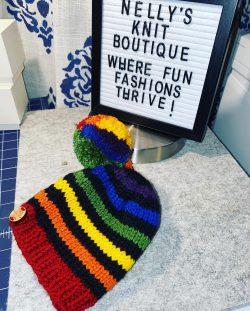Rainbow 🌈 striped double pom pom hat