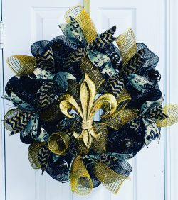 Black & Gold Fleur de Lis Wreath