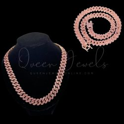 Pink Cuban Link Chain and Bracelet