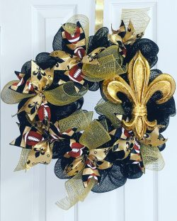 New Orleans Saints Football Wreath
