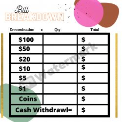 Cash Breakdown, Teller Slip