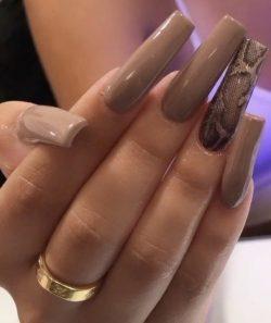 Nude Snakeskin Nails