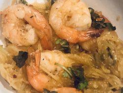 Drunken spaghetti squash W/ Shrimp