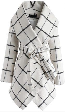White window pane plaid coat