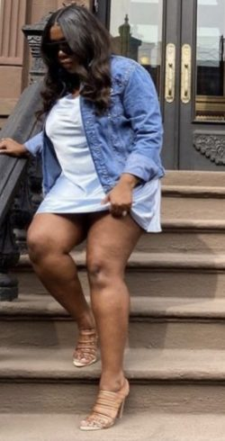 Summer dress paired with a jean jacket & heels😍