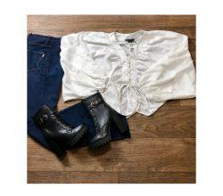 Kimono Top + High Waisted Jeans + Sasha boots