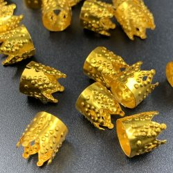 Gold Crown Hair Beads