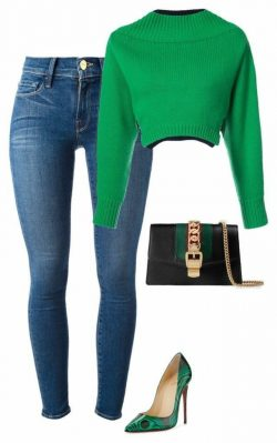 Green crop sweater and jeans