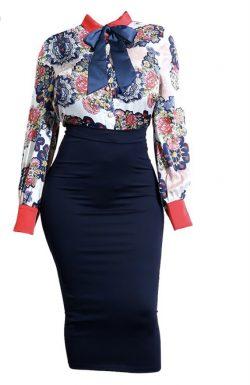 Gorgeous sheer blouse w high waisted skirt #HipsDontLie