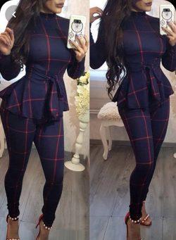 Window Pane Plaid Pant Suit