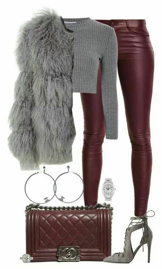 Wine/Burgundy leather and grey