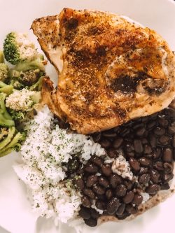chicken, rice, beans, broccoli 🥦