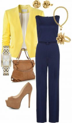 Navy, yellow and tan