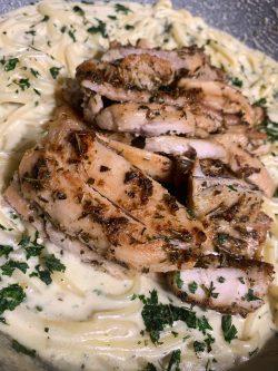 Herb Chicken Alfredo linguine