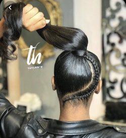 Sleek ponytail with braid 😍