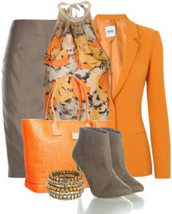 Orange and taupe