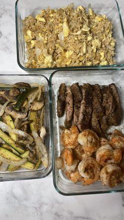 Hibachi fried rice, steak , shrimp, zucchini and onions