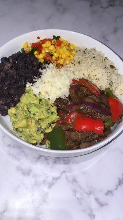 Flank steak rice bowl