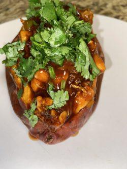 Bbq Jackfruit stuffed sweet potato