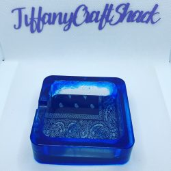 Blue bandana resin ashtray