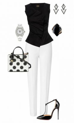 White and black with polka dots