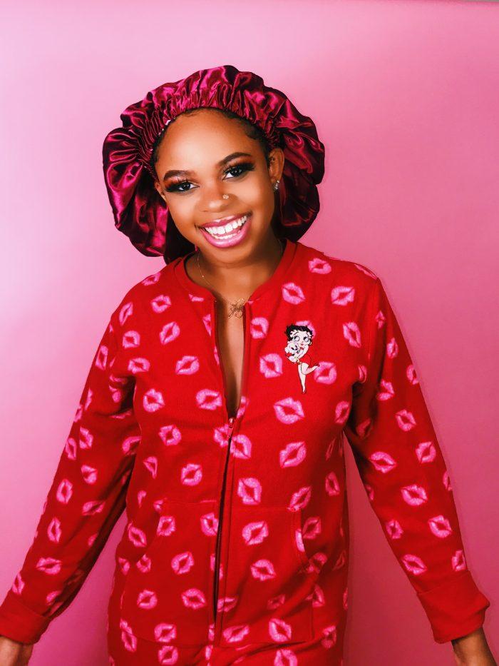 Red Cherry Abundance Satin Bonnet