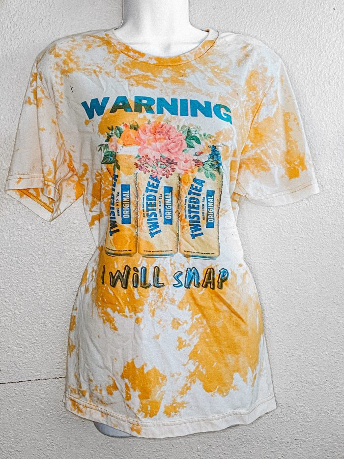 Twisted tea sublimation T-shirt women's ootd yellow bleached shirts street wear